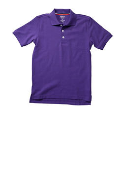 Boys 16-20 Short Sleeve Pique Polo School Uniform - PURPLE - 5871008930050