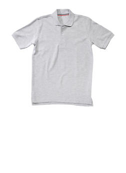 Boys 16-20 Short Sleeve Pique Polo School Uniform - GREY - 5871008930050