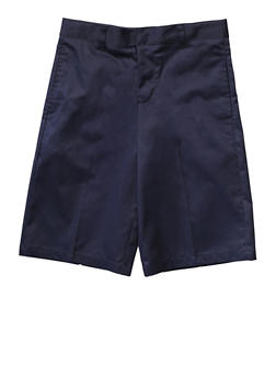 Boys 16-20 Flat Front Adjustable Waist Shorts School Uniform - NAVY - 5874008930050