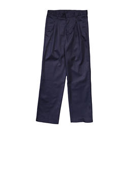 Boys 16-20 Adjustable Waist Pleated Double Knee Pants School Uniform - NAVY - 5875008930050