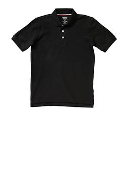 Boys Husky Short Sleeve Pique Polo School Uniform - BLACK - 5881008930050