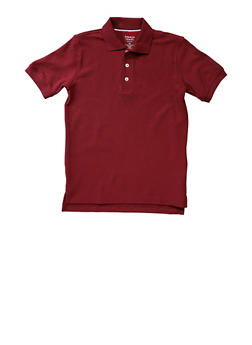 Boys Husky Short Sleeve Pique Polo School Uniform - WINE - 5881008930050