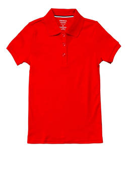 Girls 2T-4T Short Sleeve Interlock Polo School Uniform - RED - 5952008930020