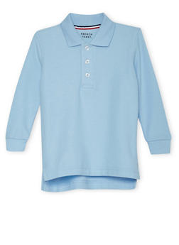 Boys 2T-4T Long Sleeve Pique Polo School Uniform - BABY BLUE - 5972008930020