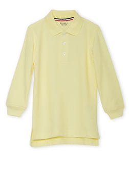 Boys 2T-4T Long Sleeve Pique Polo School Uniform - YELLOW - 5972008930020