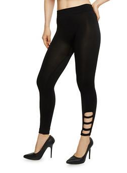 Solid Leggings with Lattice Detail - 6067001441295