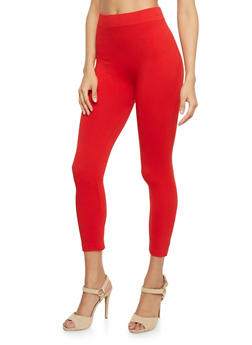 Solid Cropped Leggings - 6067041451112