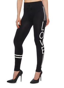 Love Graphic Joggers with Varsity Stripes - 6069001441271