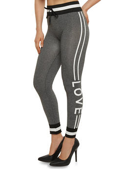 Love Graphic Joggers with Contrast Trim - 6069001442999