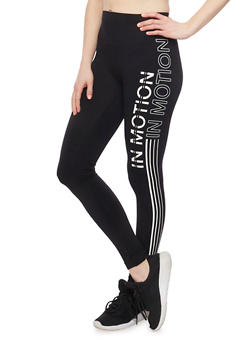 In Motion Graphic Leggings with Varsity Stipes - 6069001443229