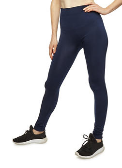 Navy Fleece Lined Leggings - 6069041450729