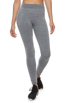 Marled Fleece Lined Leggings - 6069041450731