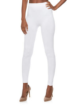 Basic Rib Knit Waistband Leggings - 6069041451918