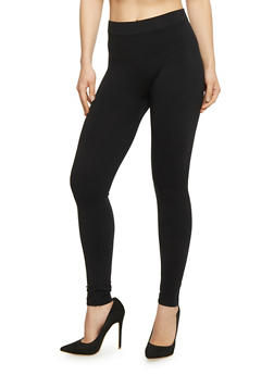 Basic Solid Black Skinny Leggings - 6069041451919