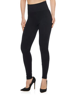 High Waisted Leggings with Textured Waist Band - 6069041453930