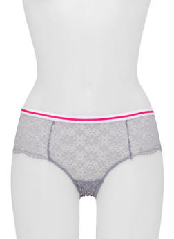 Floral Lace Boyshort Panties with Striped Waistband - 6150035161656