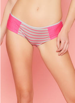Striped Boyshort Panties with Mesh Sides - 6150035161657