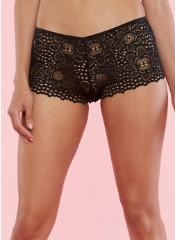 Floral Lace Boyshort Panties - 6150055520318