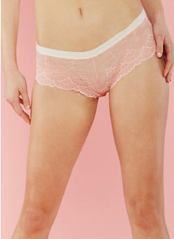Lace Boyshort Panties with Contrast Trim - 6150064872748