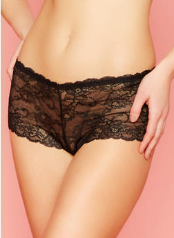 Lace Boyshort Panties with Lace Up Back Detail - 6150064875408
