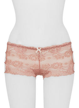 Lace Boyshort Panties with Lattice Sides - 6150064875821