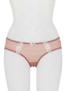 Patterned Lace Bikini Panties with Contrast Trim - 6150064877189