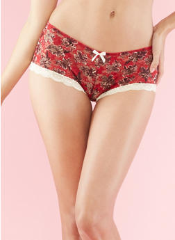 Floral Print and Lace Boyshorts - 6150064878342