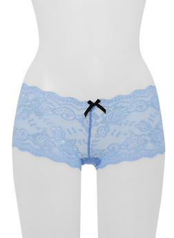 Lace Boyshort Panties with Ribbon Lace Up Back - 6150068060008