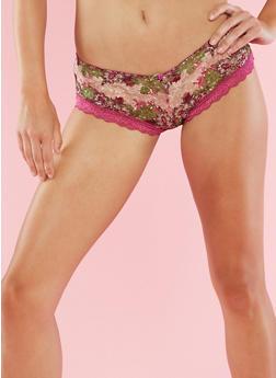 Printed Mesh Hipster Panties - 6150068060039