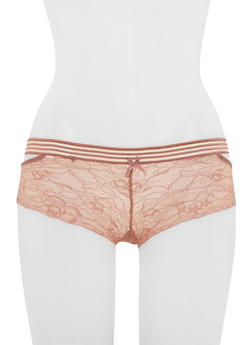Laser V Cut Lace Boyshort Panties - 6150068060245