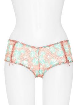 Lace Floral Boyshort Panties - 6150068060372