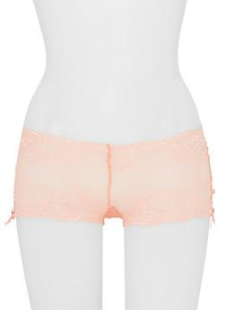 Lace Boyshort Panties with Ribbon Lace Up Sides - 6150068060419