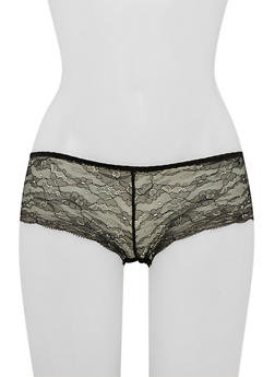 Lace Boyshort Panties with Cutout - 6150068060434