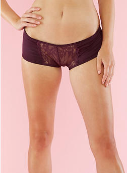 Striped Lace Boyshort Panties - 6150068060887