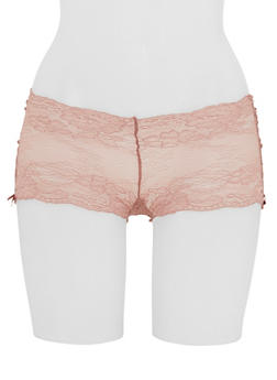 Lace Boyshort Panties with Ribbon Lace Up Sides - 6150068064419