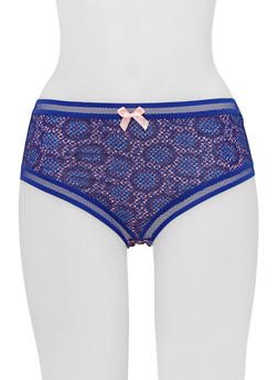 Fishnet Trim Hiphugger Panties in Mandala Print - 6150068068810