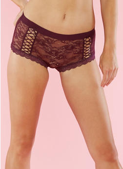 Lace Up Boyshort Panties - 6150068069493