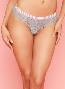 Keyhole Lace Thong Panties with Striped Waistband - 6162035161651