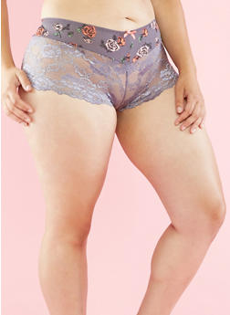 Plus Size Floral and Lace Boyshort Panties - 6166035160571