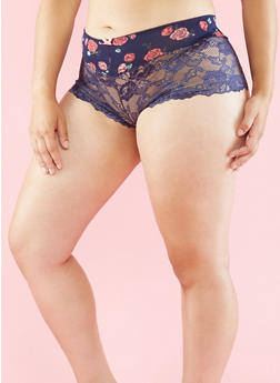 Plus Size Floral and Lace Boyshort Panties - 6166035160572