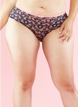 Plus Size Floral Lace Panties with Back Keyhole - 6166035160676