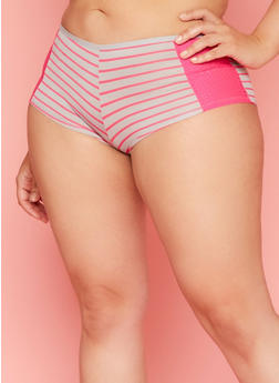 Plus Size Striped Boyshort Panties with Mesh Trim - 6166035162666