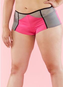 Plus Size Colorblock Mesh Detail Hipster Panties - 6166064870775