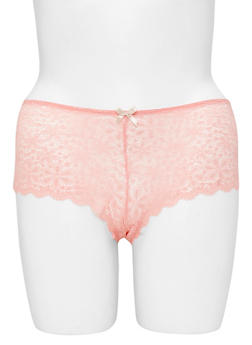 Plus Size Floral Lace Boyshort Panties with Caged Back - 6166064871716