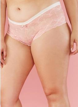 Plus Size Lace Boyshort Cheeky Panties - 6166064872747