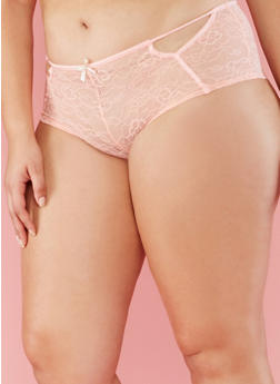 Plus Size Sheer Floral Lace Boyshort Panties - 6166064872784