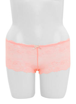 Plus Size Lace Boyshort Panties with Caged Back - 6166064872806