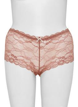 Plus Size Lace Boyshort Panties with Lace Up Back - 6166064873604
