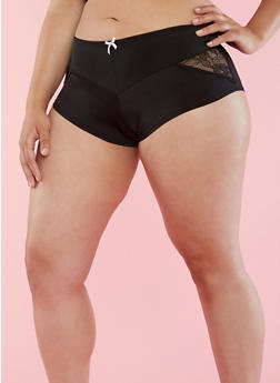 Plus Size Solid Lace Boyshort Panties - 6166064875440