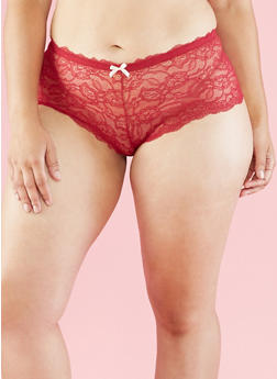 Plus Size Lace Boyshort Panties - 6166064876753